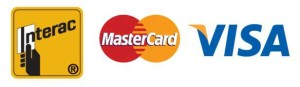 Payment by Interac, MasterCard, or Visa